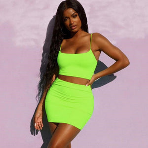 Neon Orange Green Body con Two Piece Skirt Set