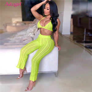 2019 Summer Fishnet Knitted Two Piece Set Women