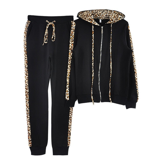 MVGIRLRU Women Cotton 2 Pieces Sets Leopard Spliced Zippers Hooded Sweatshirt Long Pants Women Tracksuits Hoodies Outfiits