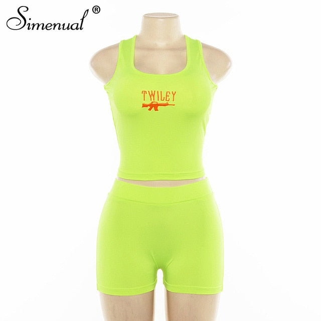 2 Piece Set Women Casual Neon Color Tracksuits