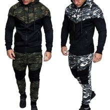 Load image into Gallery viewer, Men Set Camouflage Print Jacket+Pants