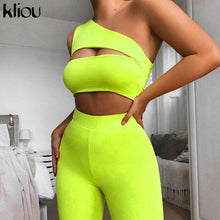 Load image into Gallery viewer, women neon color two pieces set off shoulder