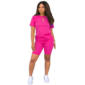 Sexy Two Pieces Sets Women Summer Festival Clothes O Neck Short Sleeve T Shirt And Biker Shorts Sweat Suits 2 Piece Club Outfits