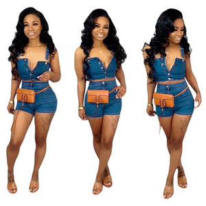 tracksuit casual denim button up high short+shorts suit 2 pieces set