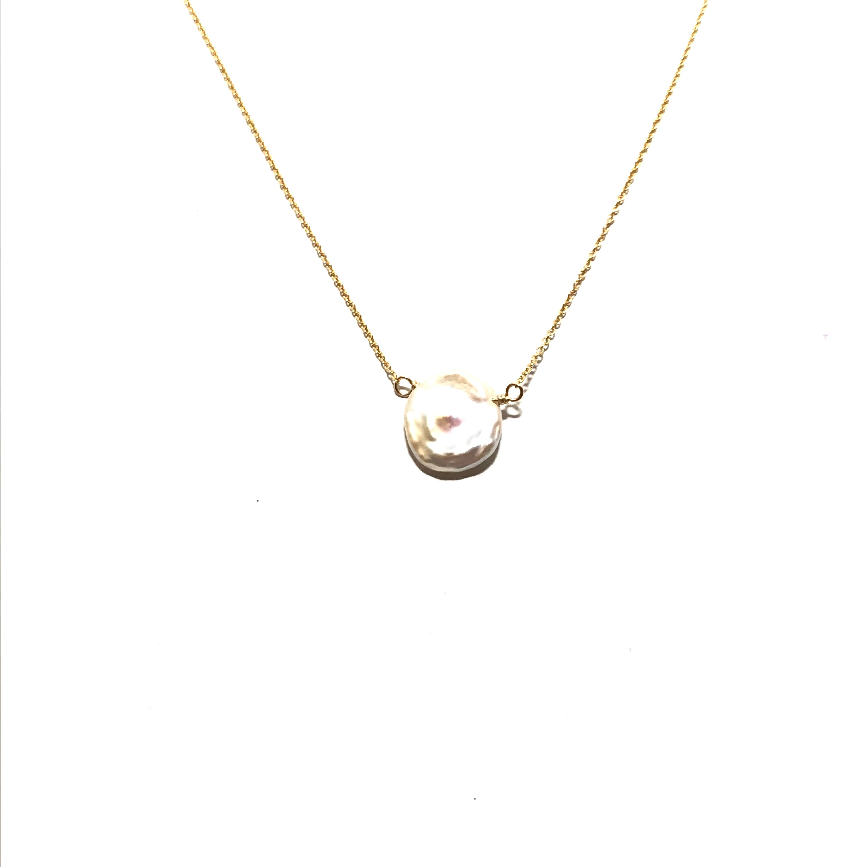 Karen Haas White Baroque Coin Pearl Necklace