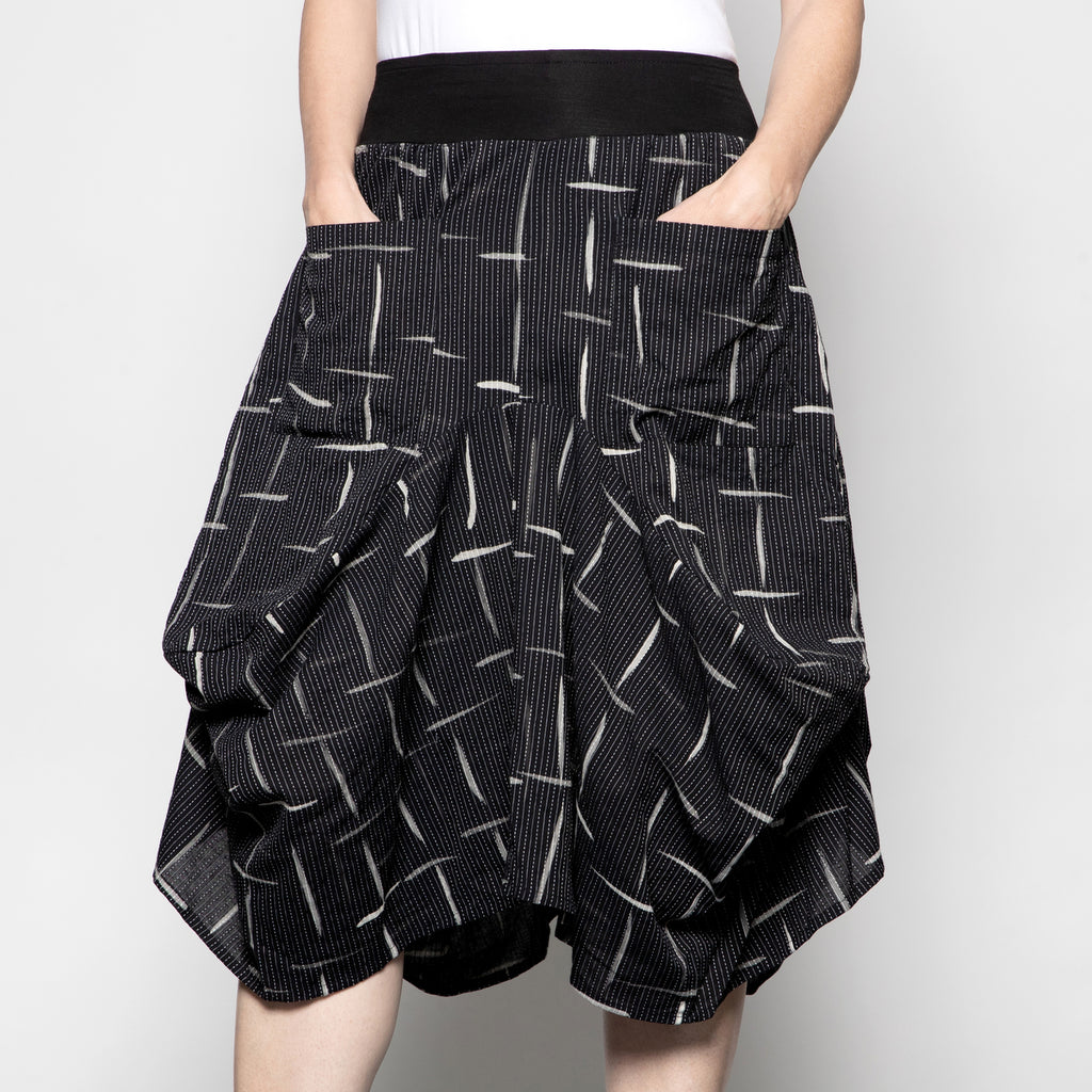 Yaza Dakini Skirt in Grey Square Print