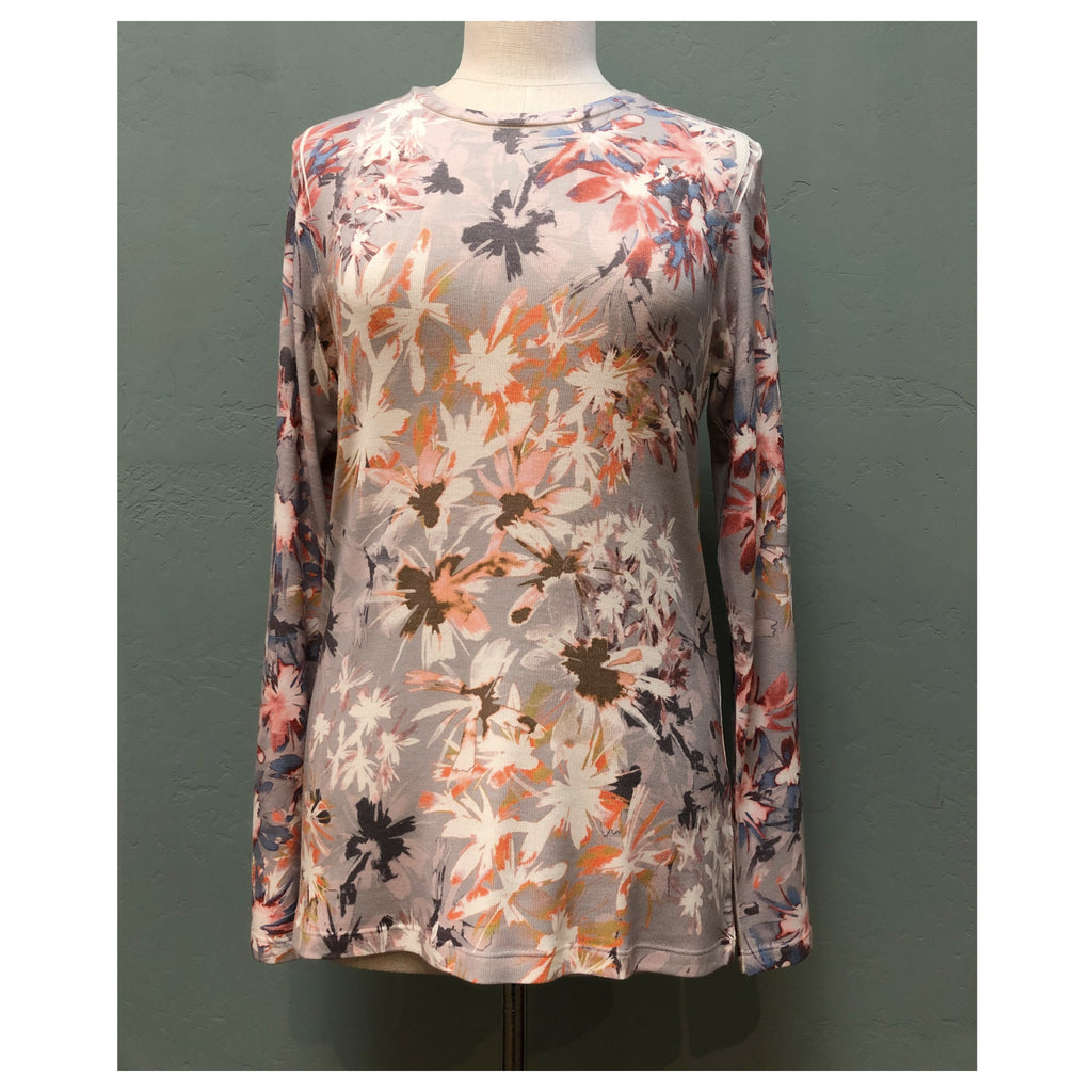 Long sleeve floral t-shirt with crew neck in tan and coral
