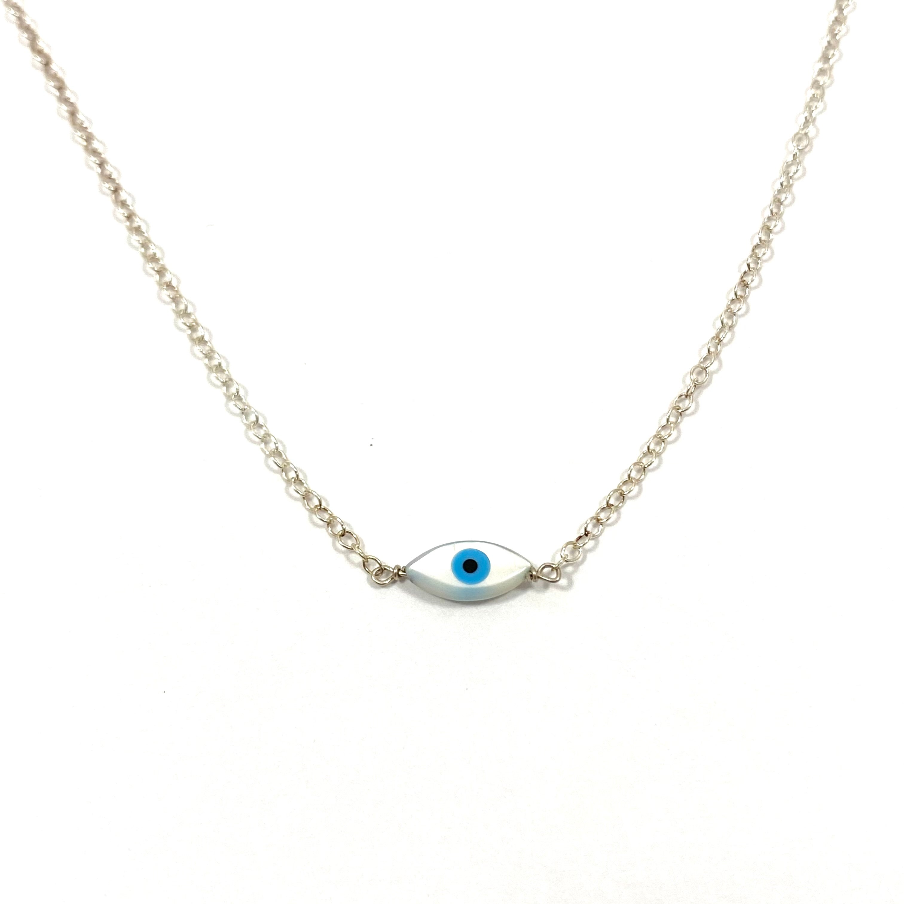 Something Blue Small Mother of Pearl Evil Eye Necklace