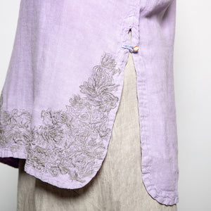 Peacock Ways Embroidered Top in Lilac-XL