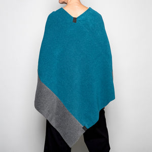 Henriette Stevenson Poncho in Petrol and Grey