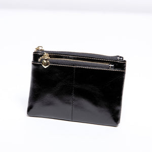 Pretty Persuasions Double Zipper Coin Purse in Black