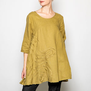 Peacock Ways Fray Swirl Tunic in Olive