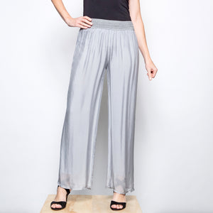 M Made in Italy Silk  Straight Leg Pant-Silver