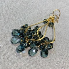 Karen Haas Hydro Quartz and Parisian Blue Briolette Earrings-1436 E