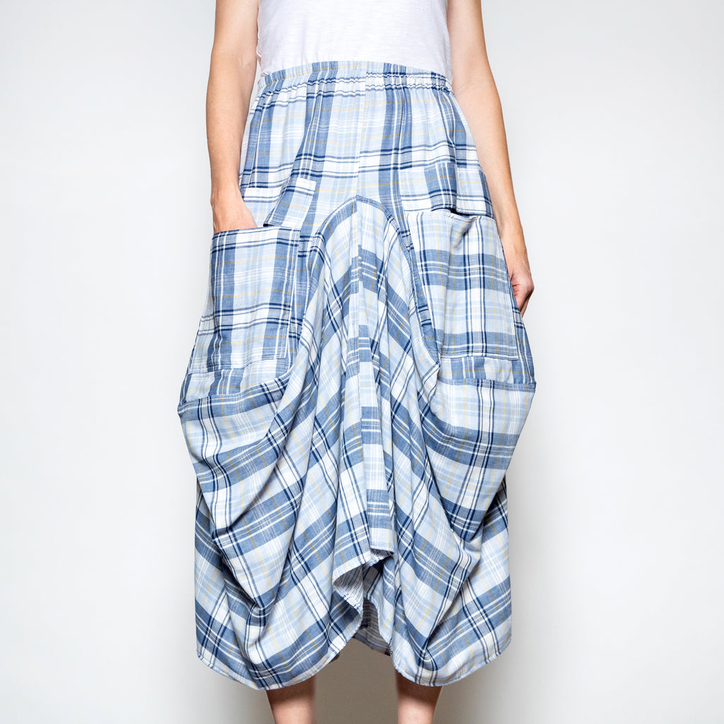 Hanna For La Journee Two Pocket Skirt in Blue Plaid