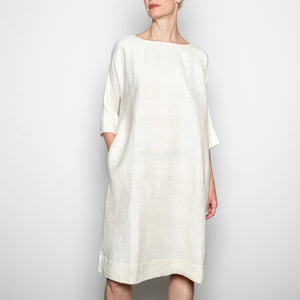 Annam Raw Silk Round Neck Dress