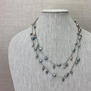 Karen Haas Freshwater Pewter Baroque Pearls and Labradorite Necklace