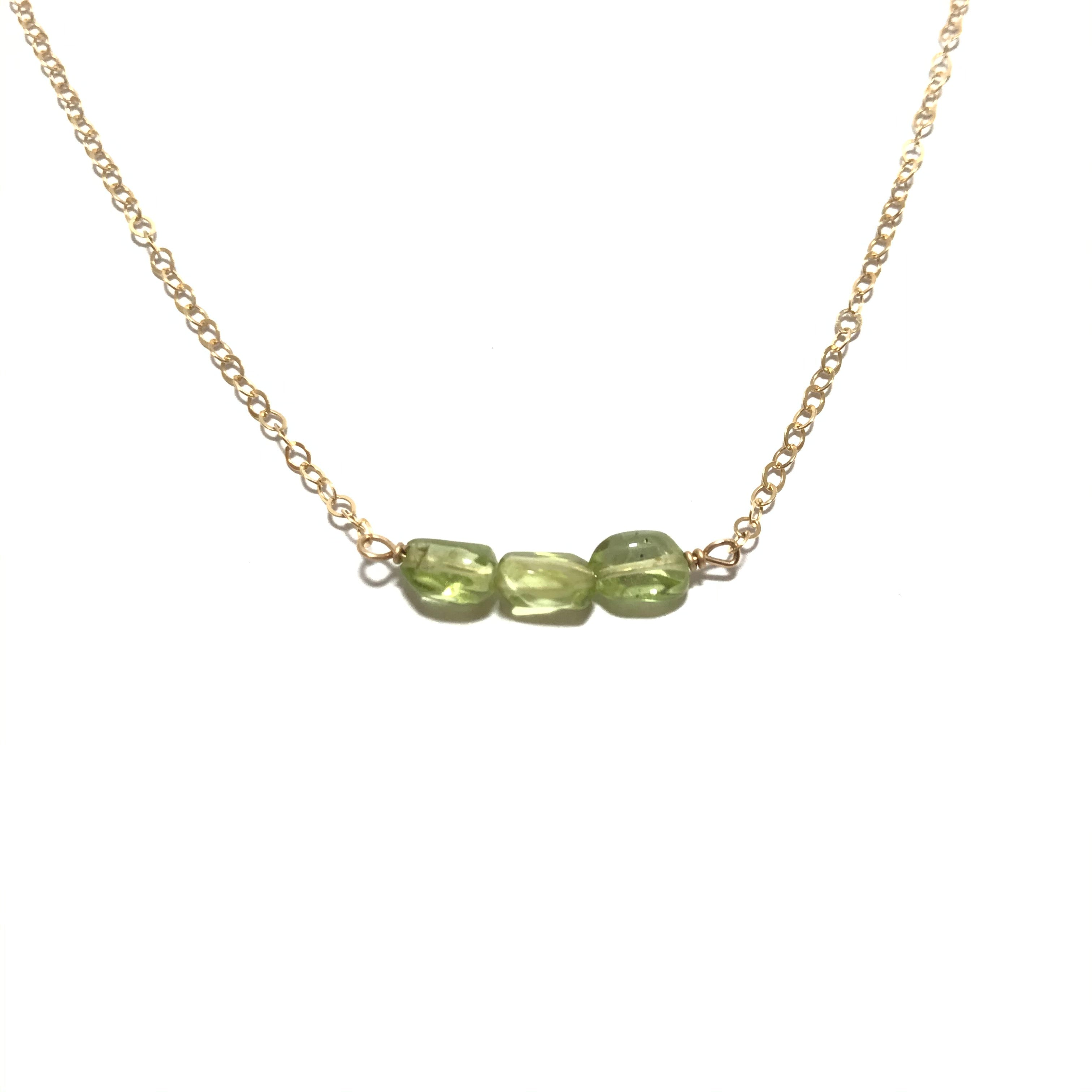 Something Blue Peridot Nugget Necklace