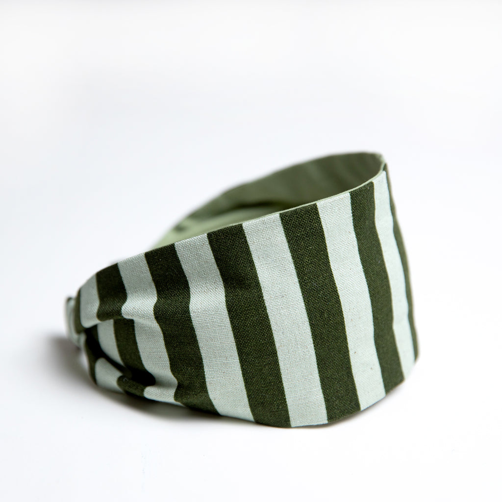 Cookie and the Dude Classic Headband in Mint Cabana Stripe