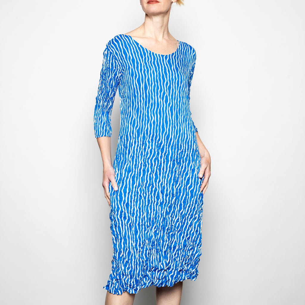 Alquema Panelo Dress in Royal Ivory Stripe