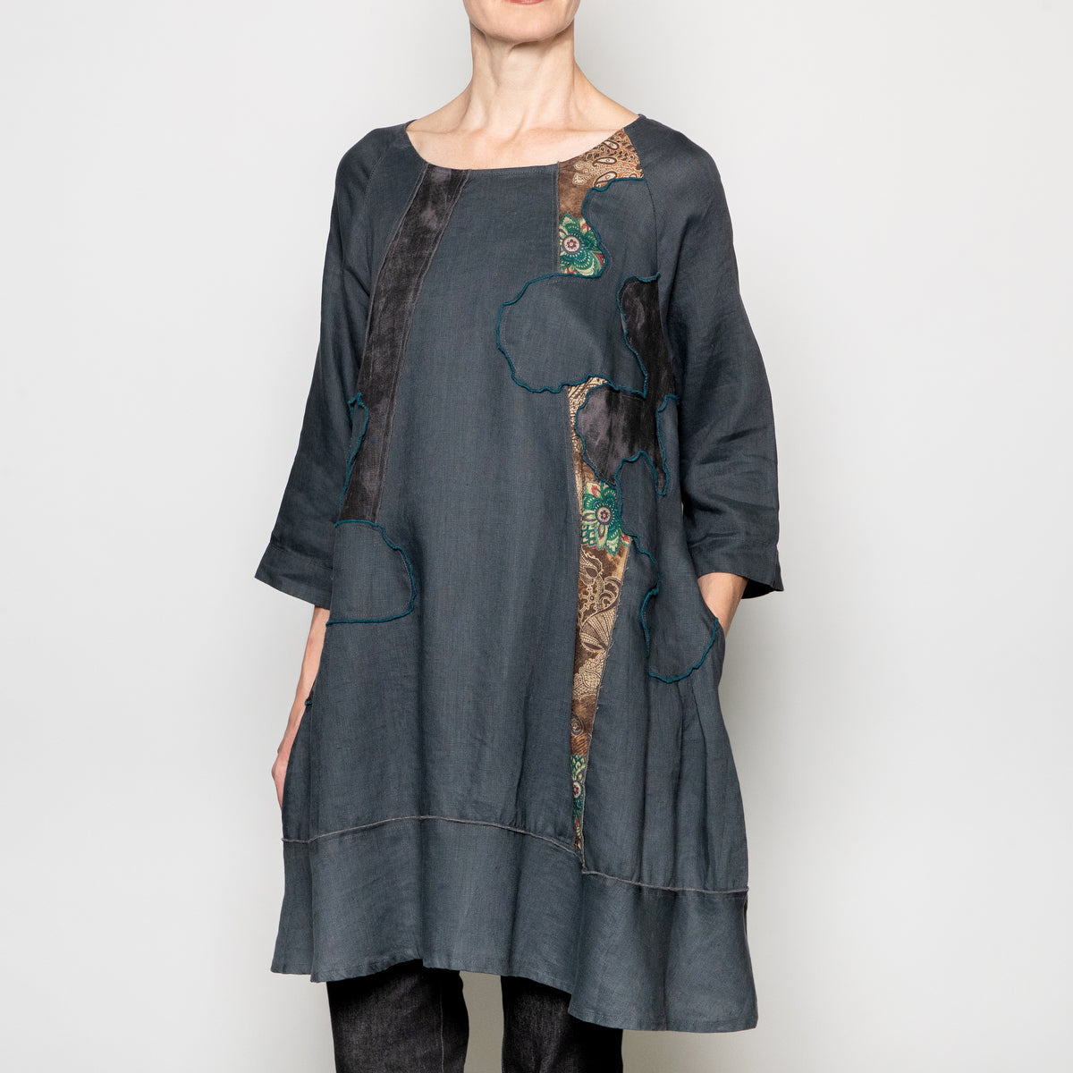 Peacock Ways Collage Tunic in Grey