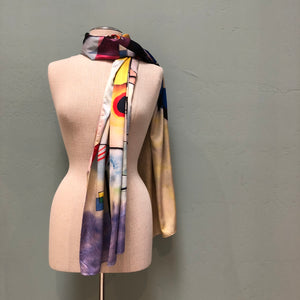 Dance in Paris hand painted silk scarf with multi-colored Italian Futuristic design