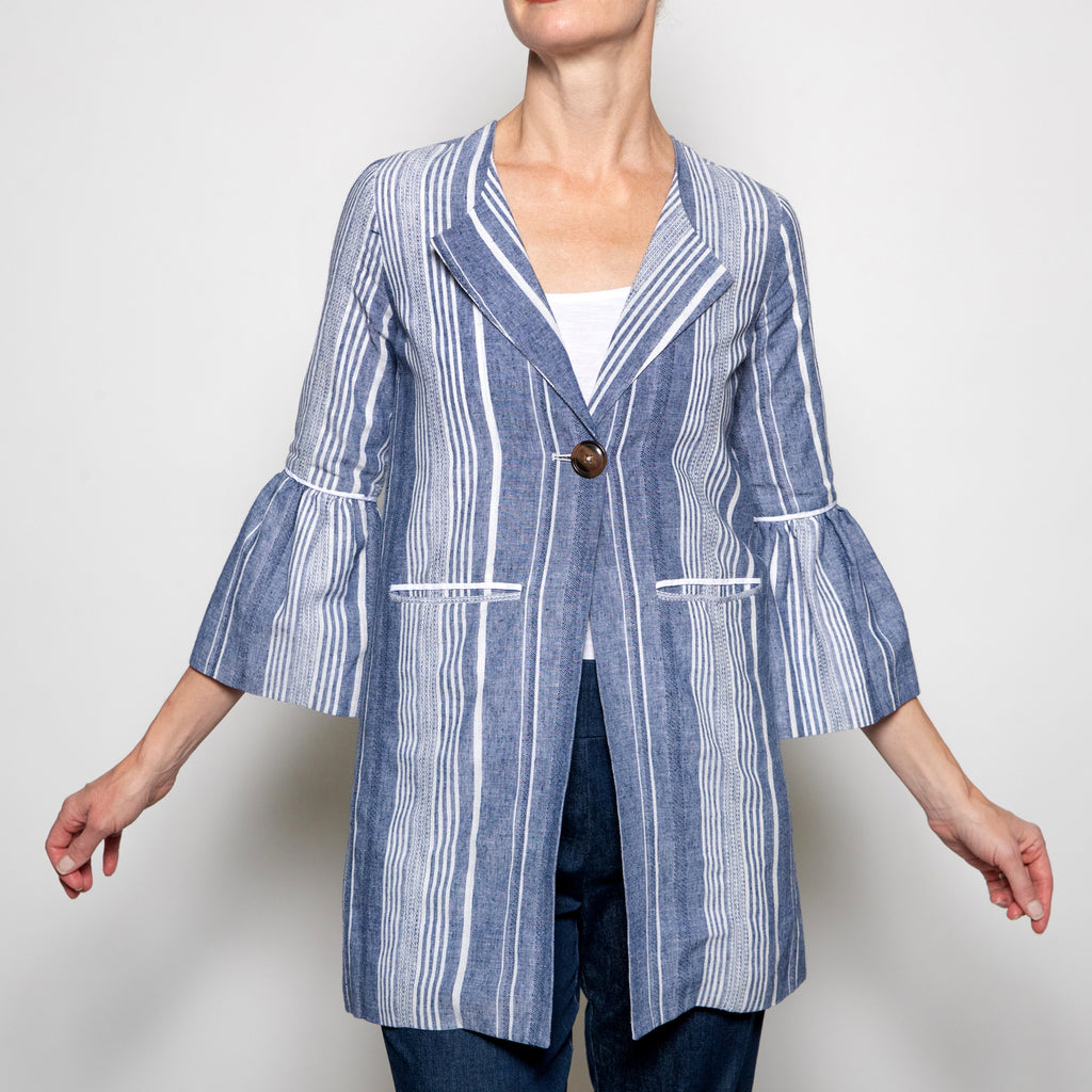 Luii-Denim and White Striped Coat