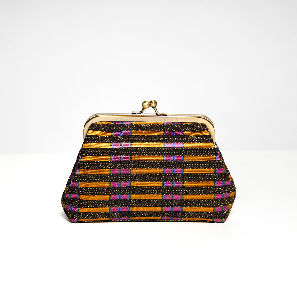 Jeanie Joe-Dana Bag in Black Stripe over Gold