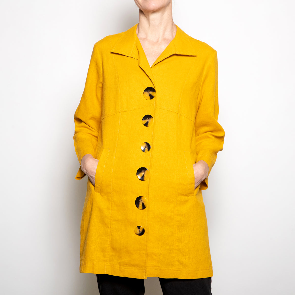 Luii-Mustard Button Down Coat