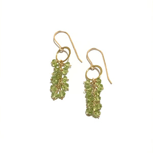 Something Blue Gold Circle Peridot Cluster Earrings