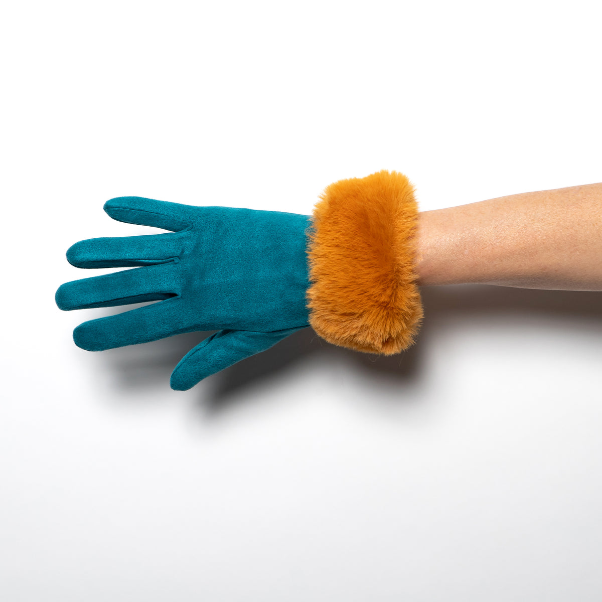 Powder Bettina Faux Suede Gloves in Teal and Mustard