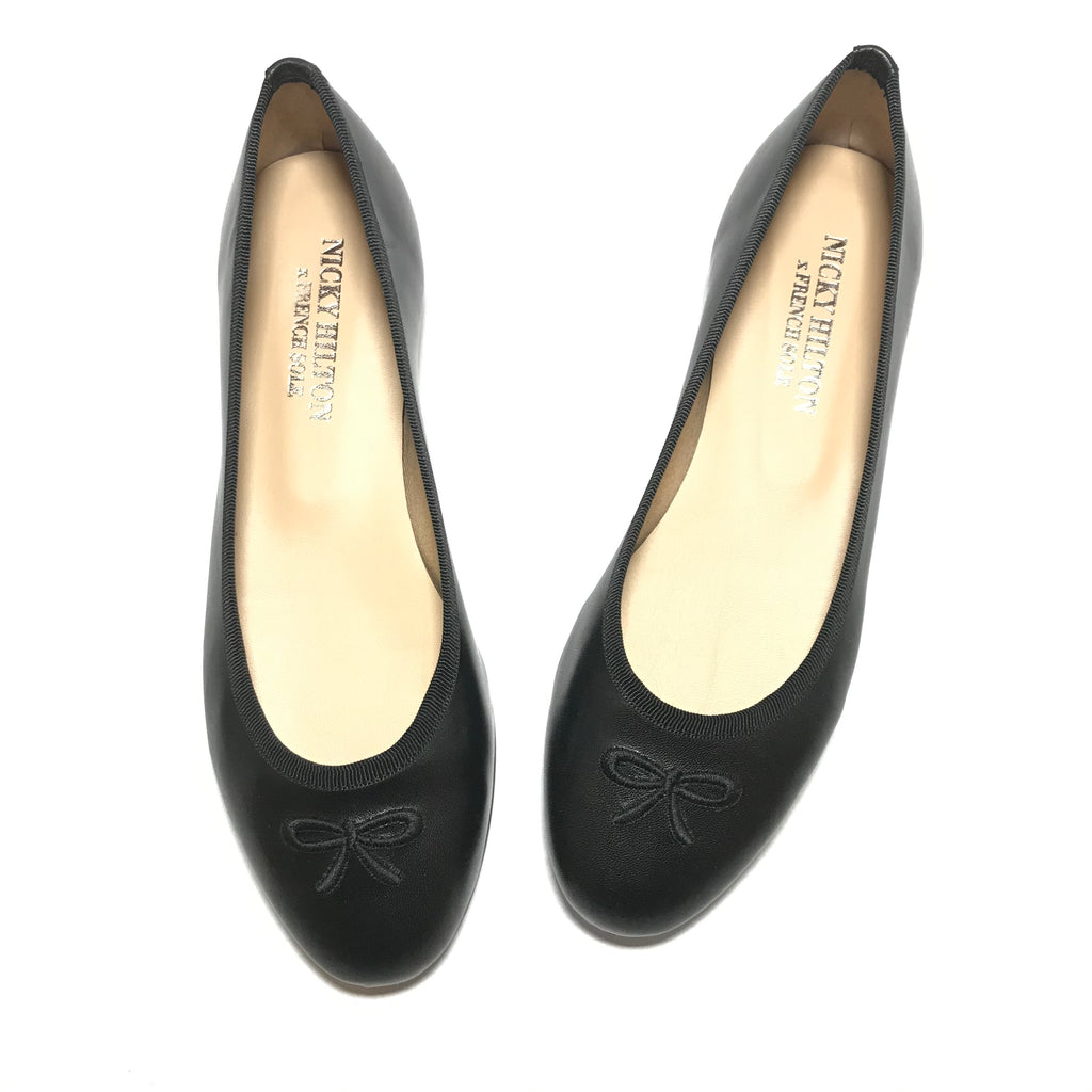 French Sole Kathy Black Ballerina Flat