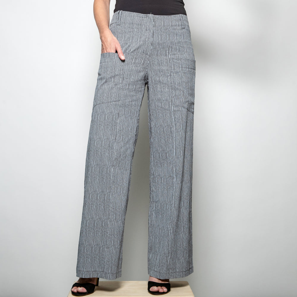 Fit and flare trousers in grey and white stripe from Heart