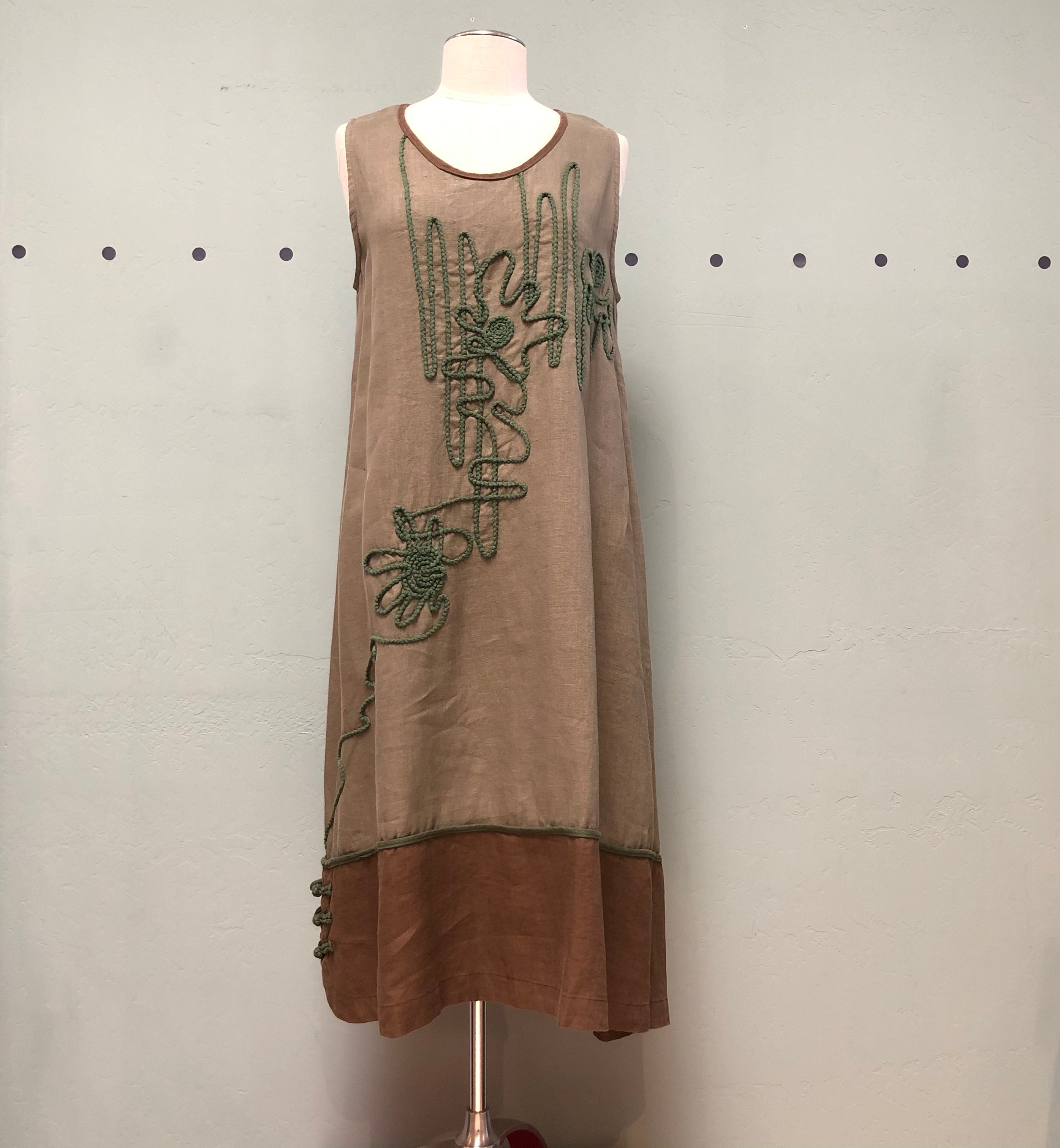 Peacock Ways Olive Embroidered Tank Dress