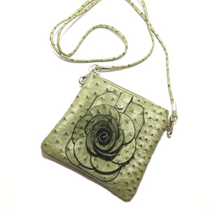 22 Tote Floral Ostrich Bag in Olive