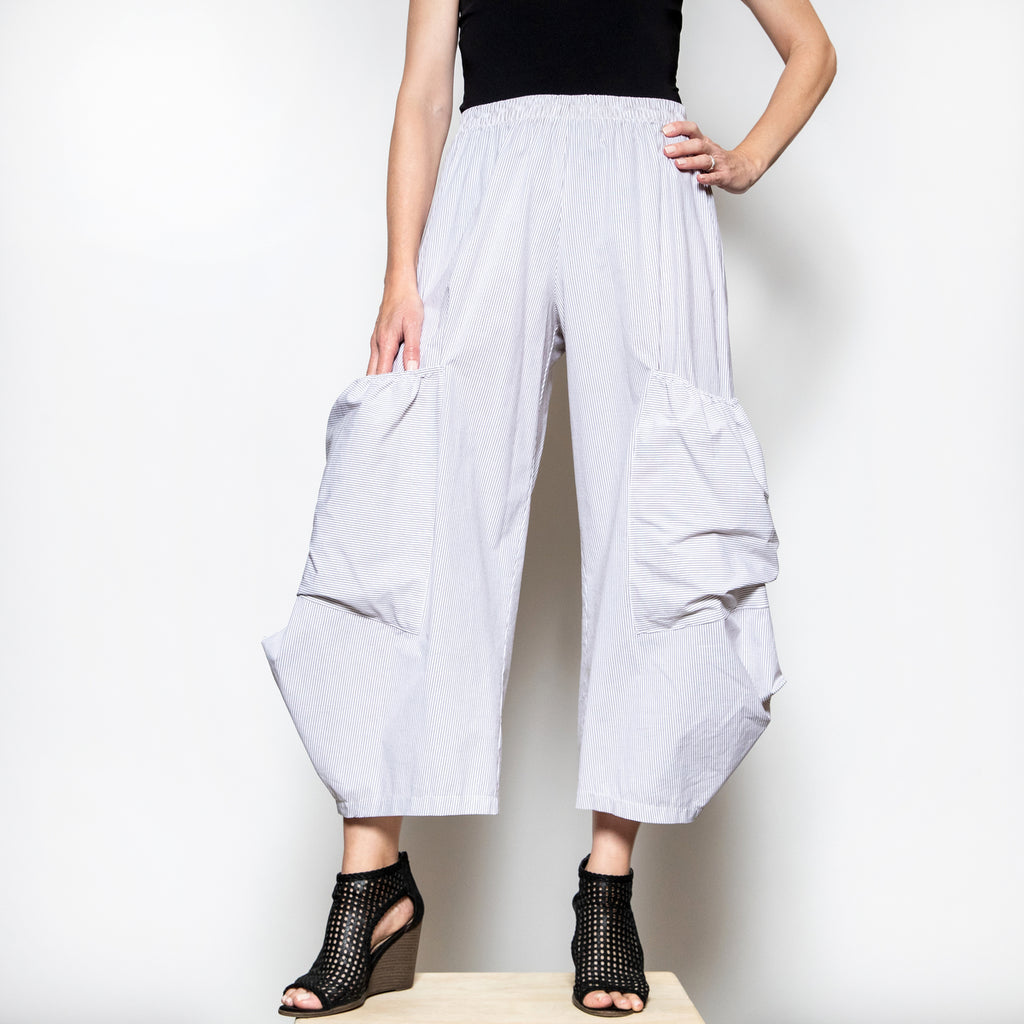 Hanna For La Journee Pocket Pants in Beige Stripe