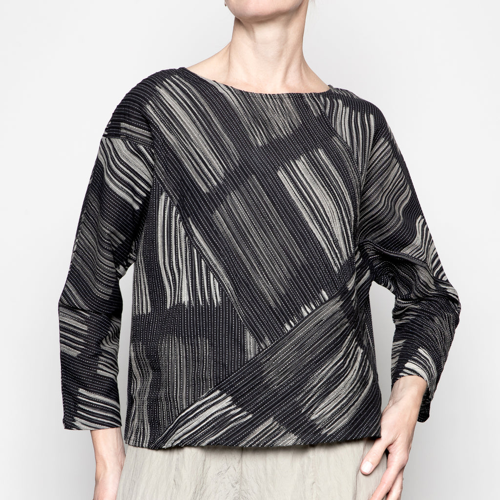 Yaza Pintuck Durga Blouse in Grey Square