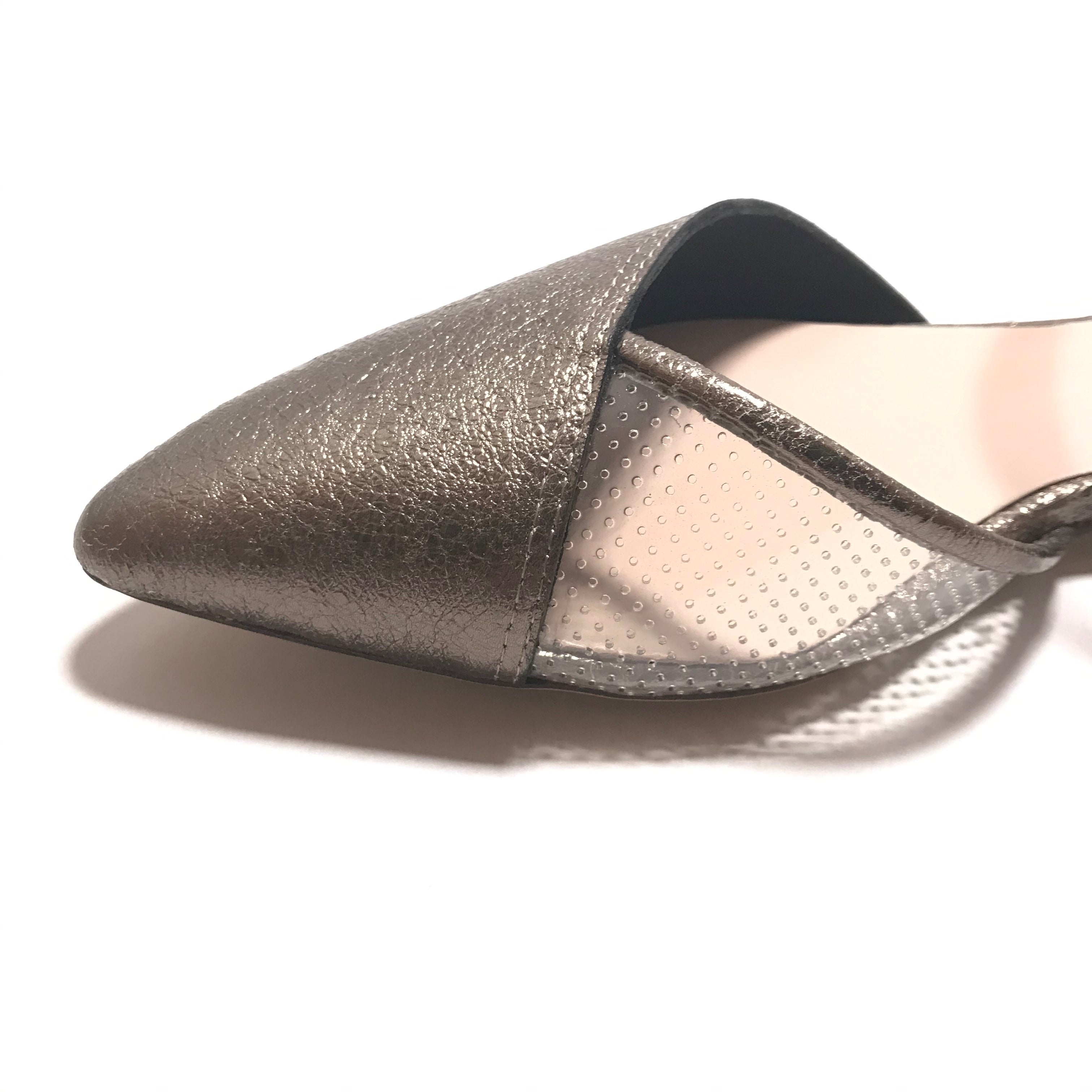 "Toe detail of All Black pointed toe shoes with a heel of 1/4"" height with a double elastic ankle strap in the color of silver"