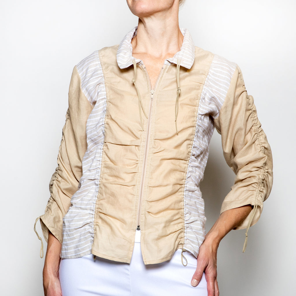 Hanna For La Journee Rushed Linen Jacket in Beige with Stripe