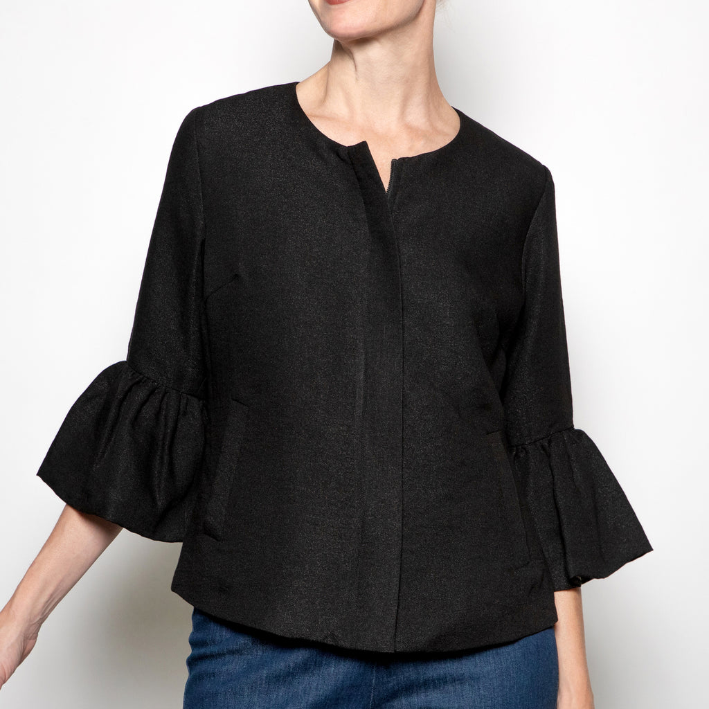 Luii Black Cropped Jacket with Flounce Sleeve
