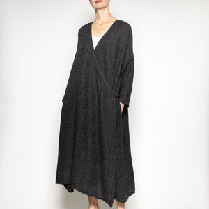Peacock Ways Long Wrap Jacket in Black