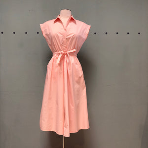 Compania Fantastica 100% cotton, pale pink shirtwaist dress with collar, slight cap sleeve and belted waist ""