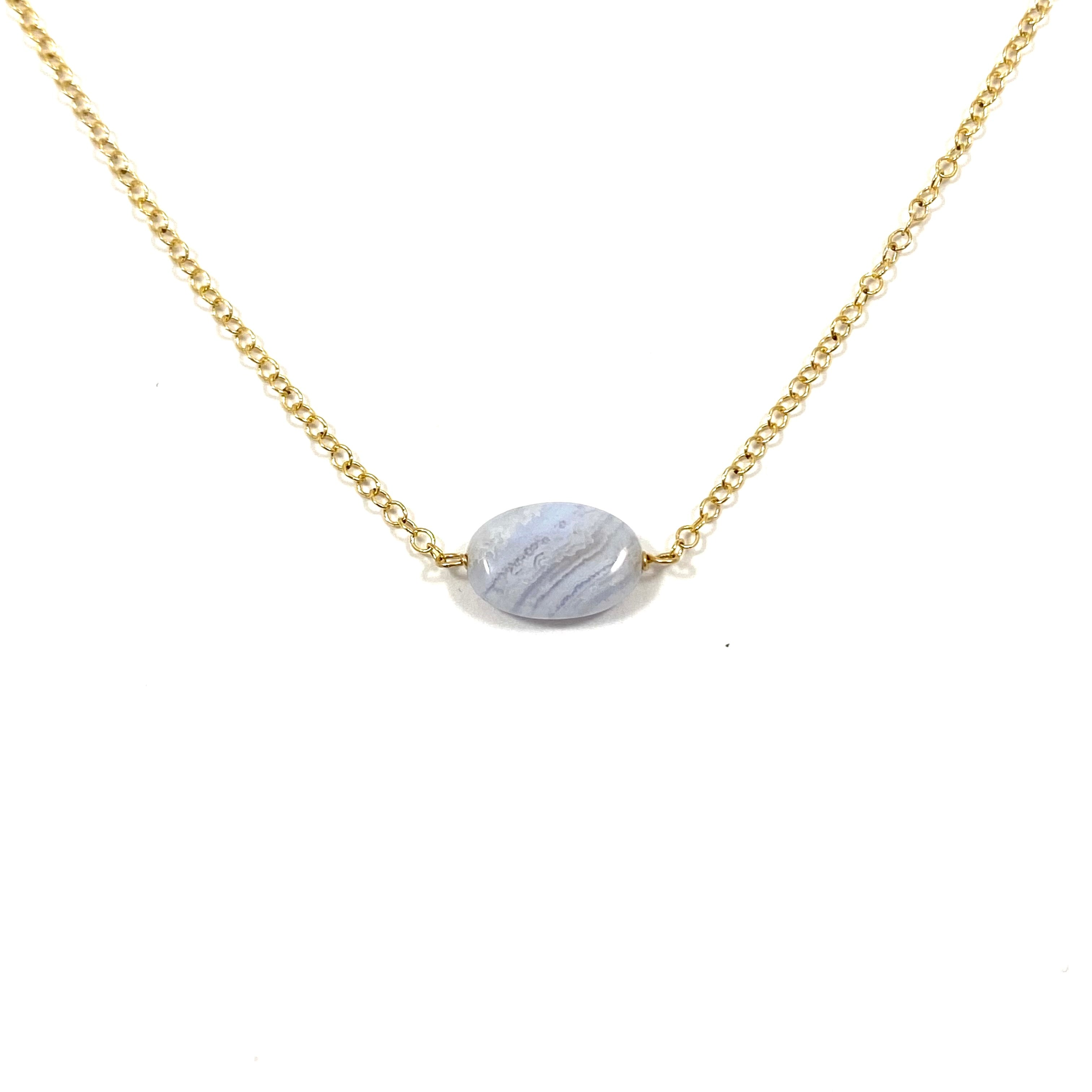 Something Blue Blue Lace Agate Oval Necklace