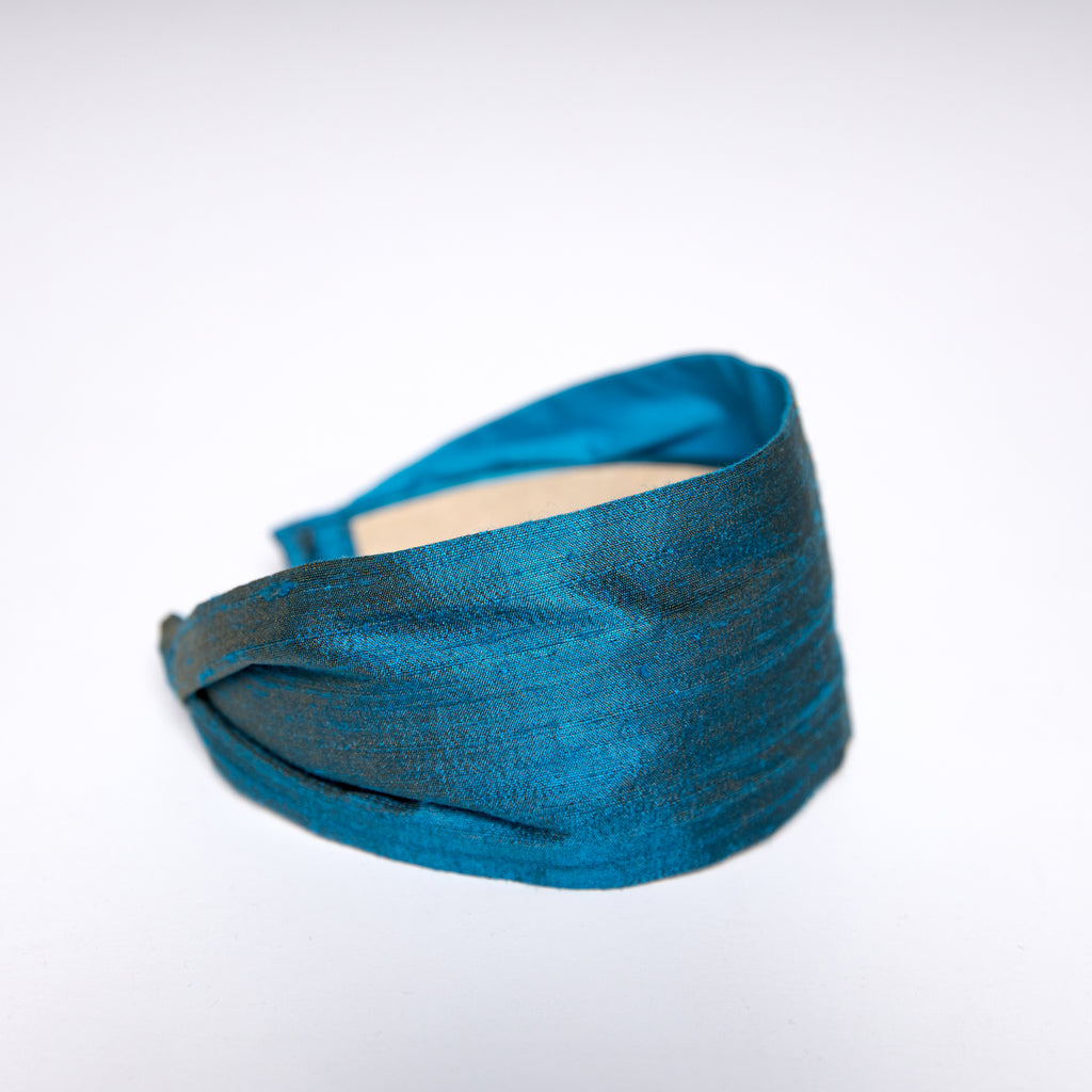 Cookie and the Dude Classic Headband in London Blue Dupioni