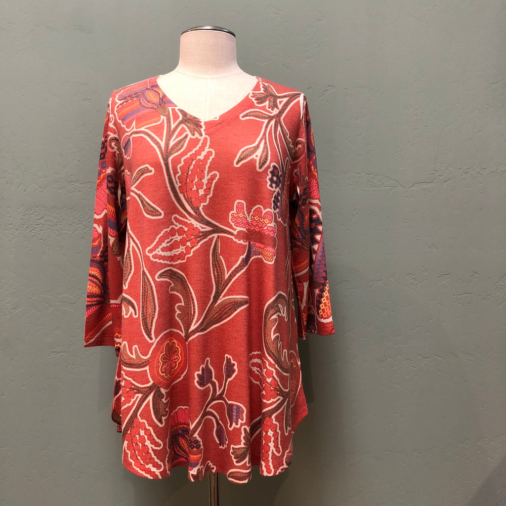 Whimsy Rose V-neck Printed Tunic Top