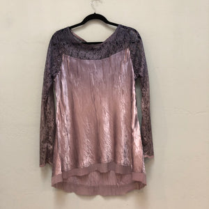 Komarov Long Sleeve Lace Yoke Top