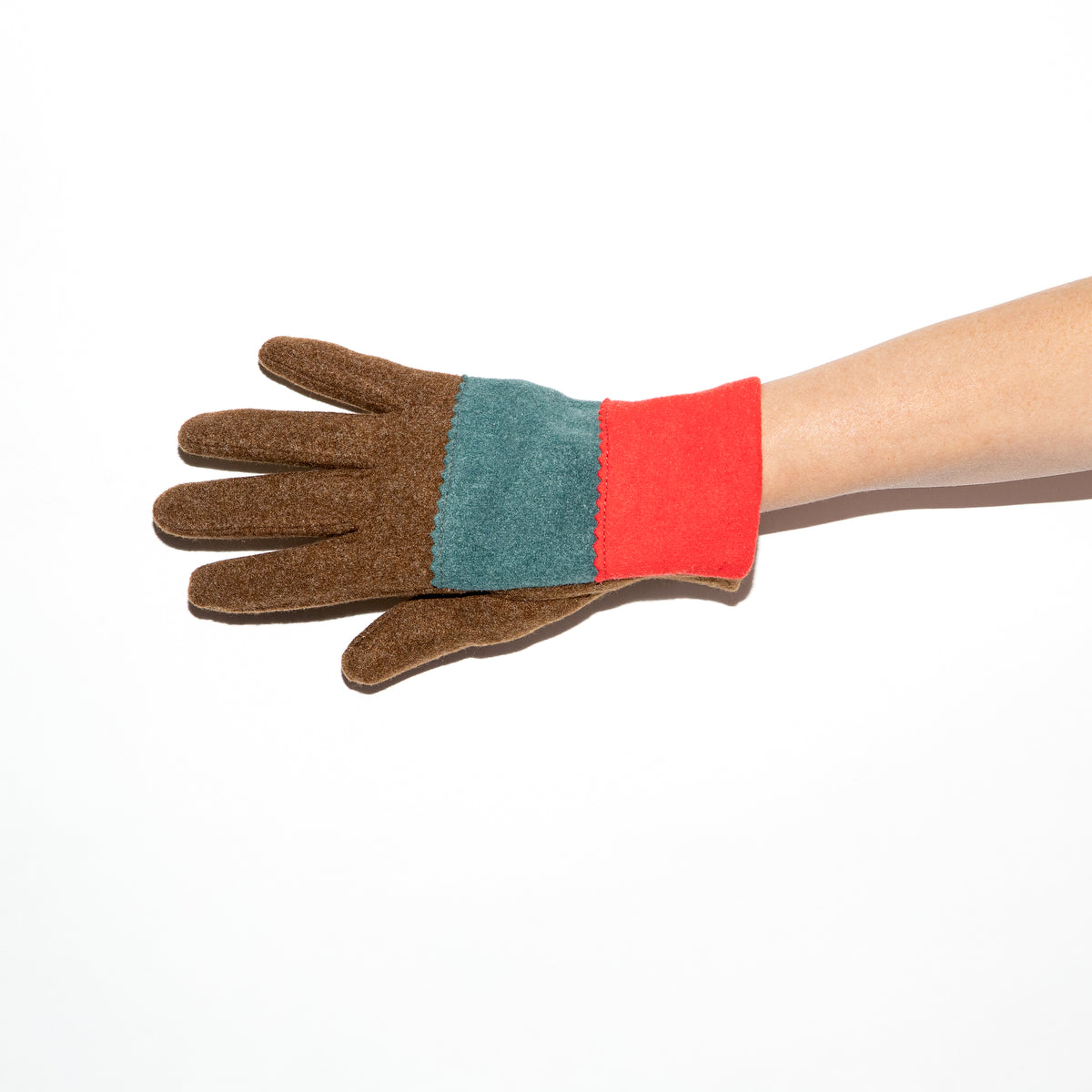 Santacana Knitted Tricolor Glove in Mink/Pacific/Red