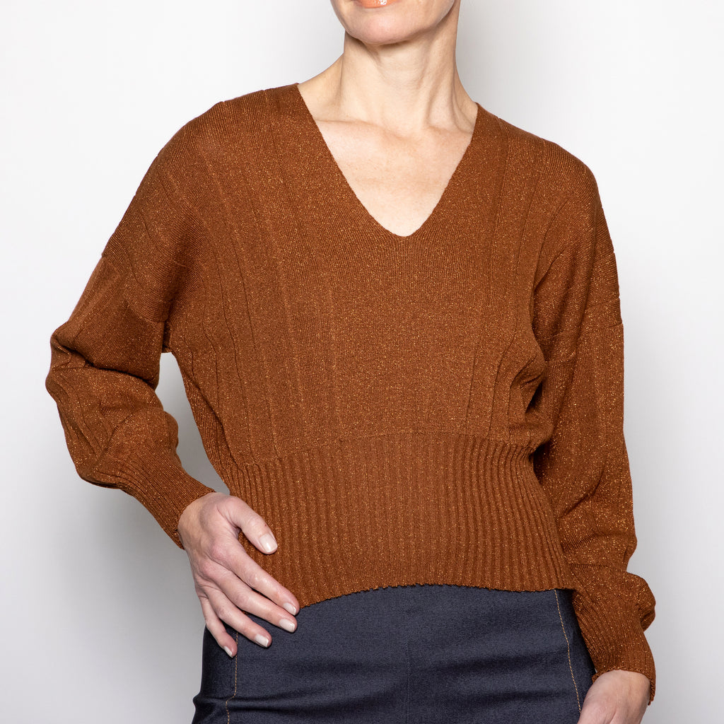 Aggel Lurex V-neck Sweater-WO1135K-Burnt Orange