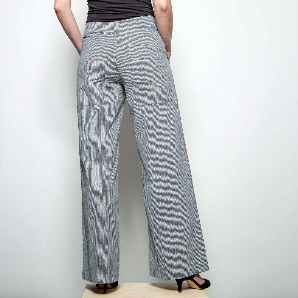 Fit and flare trousers in grey and white stripe from Heart back view