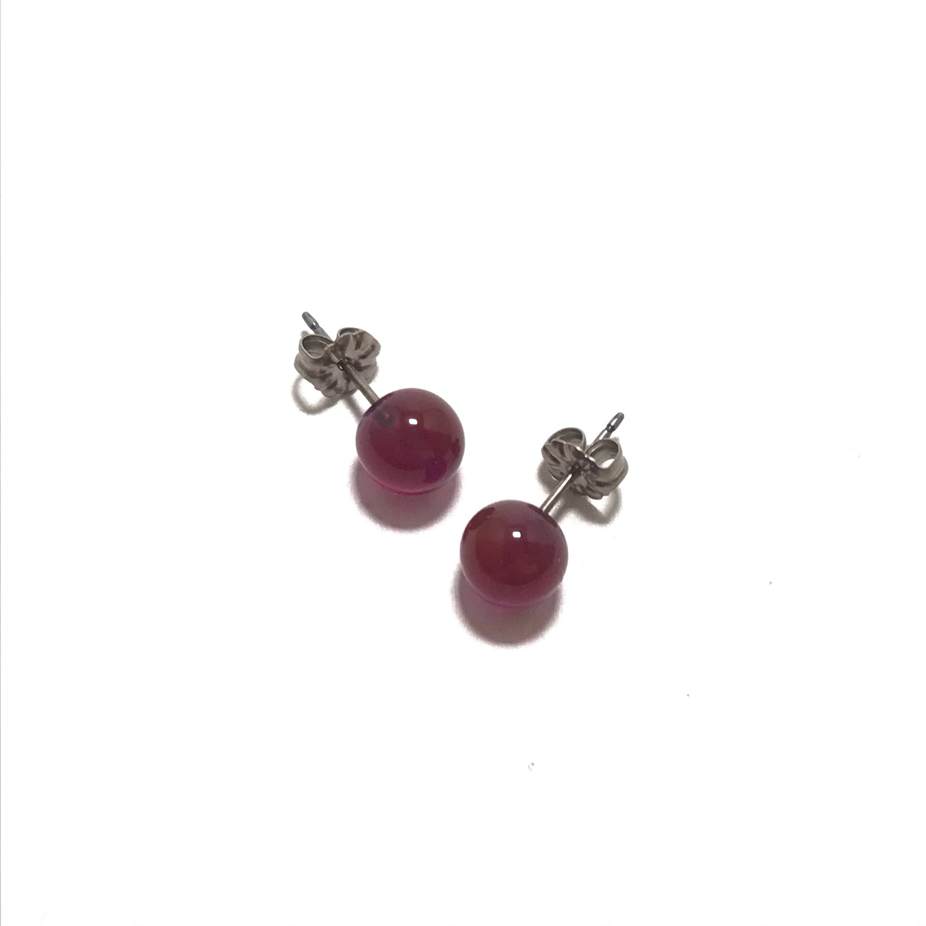 Krista Bermeo Globe Earrings in Fuschia